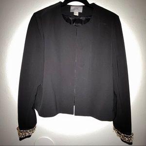 Gold chain cuffed blazer
